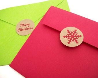 Kraft Snowflake Christmas labels, envelope seals, Merry Christmas Happy Holidays stickers, red and green mason canning jar labels