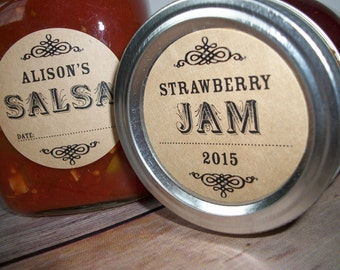 Custom KRAFT paper canning jar labels, fully personalized round stickers for mason jars, fruit and vegetable preservation, moonshine, jam