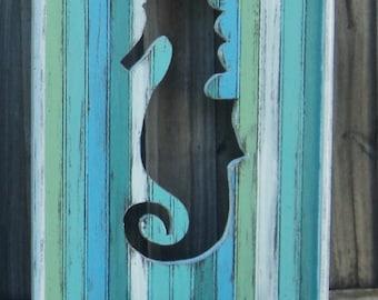 Large Beachy Weathered Seahorse Wall Panels, Beach House Decor, Reversible Head Board Panels