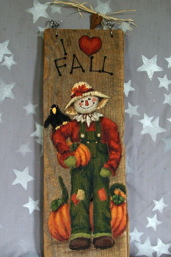 i love fall scarecrow hand painted on barnwood 5 x