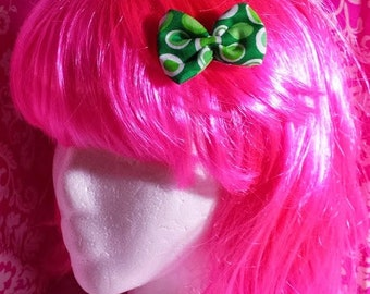 Green - Circles - Little Bow - Cotton - Single Prong Clip