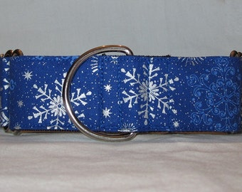 Royal Snowflake Martingale Dog Collar (1.5 or 2 Inch) blue silver glitter sparkling snow holiday winter christmas classy