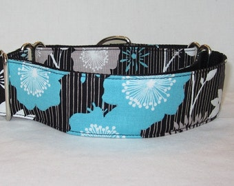 SALE Teal Floral Martingale Dog Collar - 1.5 Inch - blue turquoise gray white black stripes flowers hyndragea bold