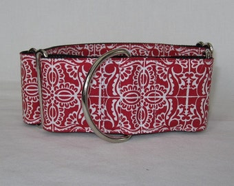 Red Mosaic Martingale Dog Collar - 2 Inch - white tile mediterranean tribal antique