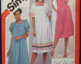1980s Sundress Beach Dress Cover-up Square Neckline Sleeve Variations Simplicity 5921 © 1983 Bust 32.5-36 Women's Vintage Sewing Pattern