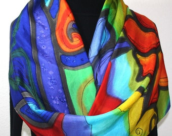 Silk Scarf Hand Painted Silk Shawl Red Orange Blue Hand Dyed Silk Scarf HAPPY DAY Large 14x72 Birthday Gift Scarf Gift-Wrapped Scarf