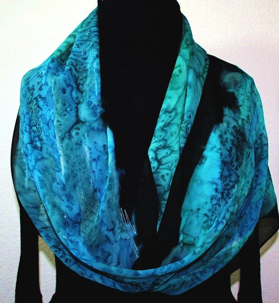 Teal Turquoise Chiffon Silk Scarf Hand Painted CARIBBEAN BREEZE, in 2 SIZES. Mother Gift.  Birthday Gift