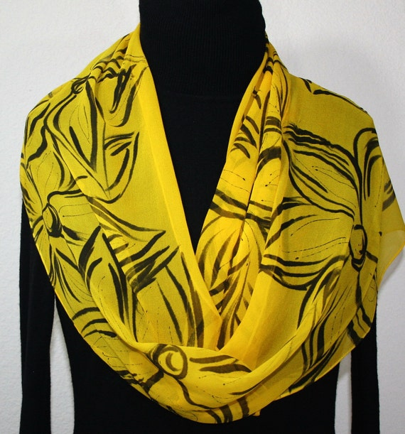 Silk Scarf Hand Painted Silk Shawl Yellow Black Hand Dyed Silk Scarf CANARY ISLAND Extra Long 11x90 Birthday Gift Scarf Gift-Wrapped Scarf