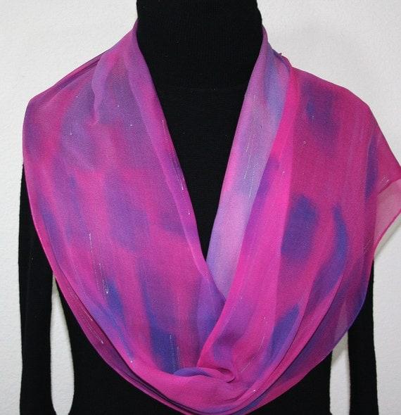 Silk Scarf Hand Painted Chiffon Silk Shawl Pink Lavender Silk Scarf PRETTY BALLERINA Extra Long 11x90 Birthday Gift Scarf Gift-Wrapped Scarf