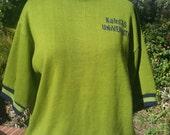 college sweater 60s Kansas University KU sweatshirt lime green blue ringer Collegiate Pacific size large 42 44