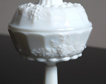 Covered Small Round Pedestal Dish, Vintage White Milk Glass, Paneled Grape, Westmoreland