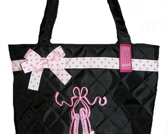 Personalized Black Quilted Embroidered Pink Ballet Slippers Tote Bag, Ballet, Dance