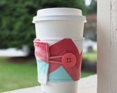 Chevron Coffee Sleeve / Coffee Cozy - Coral and Aqua Chevron Cup Sleeve - CK Stitches on Etsy - Small Teacher, Friend, Neighbor Gift