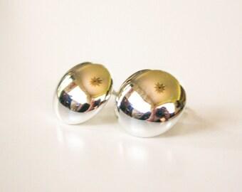 Silver Tone Dome Clip Earrings