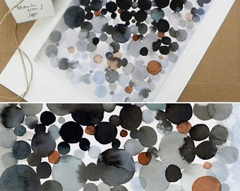 Watercolor Black space, Abstract print, abstract watercolor painting dots  Watercolor print