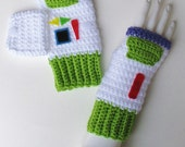 Toy Story Buzz Lightyear Wristwarmers, Fingerless Mitts, Texting Gloves, Adorable Accessory