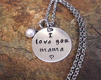 Super Sale Now Mama Jewelry, Mommy Necklace, Personalized Jewelry, Mother's Day Jewelry, Hand Stamped Jewelry, I Love You Mama