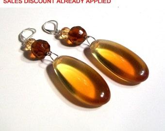 Large Dangle Earrings, Exotic Shiek, Long, Large Irregular Oval Resin, Brown, Long Earrings, Lightweight Large Earrings