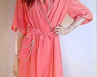 Authentic 1930 Peach Satin Dressing Gown with White Piping Trim, Fringed Sash