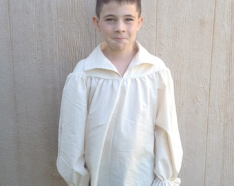 BOYS Renaissance Pirate Pioneer Theatre Shirt Drop Yoke (9/10, 11/12, or 13/14)