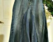 GAP 1969 ballroom jean skirt Renaissance Denim Couture fairy goddess mermaid belle bohémienne Made to Order