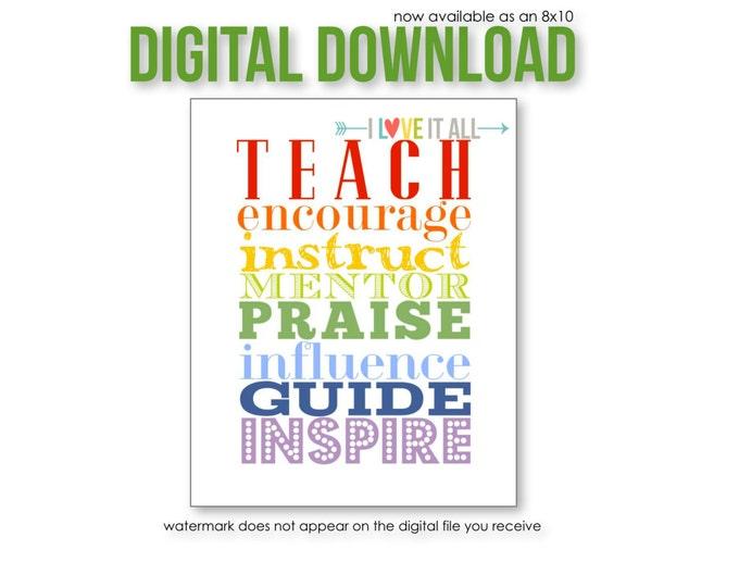 Featured listing image: TEACHER GIFT . Printable Teacher Appreciation, Teach Educator Mentor, Classroom Decor, Teacher Gift, Teacher Appreciation, Gift for Teacher