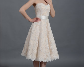 Lace wedding dress, wedding dress, bridal gown, strapless alencon lace