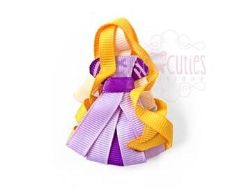 Inspired Princess Rapunzel sculpture ribbon hair clip / girl hair clip / girl barrette