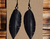 Feather Bike Tube Earrings - 3 Sizes - Eco Leather - BMX - Cycling - Upcycled Art - Wings