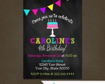 Chalkboard Girl Birthday Invitation, Printable File, Pennant Banner Invitation, Girls Birthday, Cake Birthday Invitation