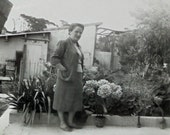 Vintage Photo - Woman Stood on a Garden Terrace