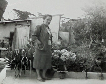 Vintage Photo - Woman Stood on a Garden Terrace