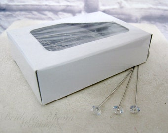 100 Gemstone pins corsage boutonniere pins wedding bouquet pins DIY wedding supplies
