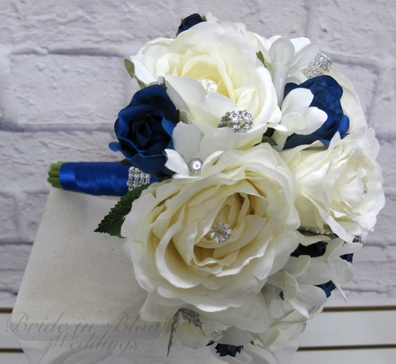 Bridesmaid Bouquet White Royal Blue Rose By