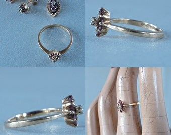 4 Piece Set 10 Karat Yellow Gold Pendant, Ring, Earrings Genuine Rubies and Diamonds 1970's Parure