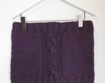 Cowl in Purple Aubergine Chunky Wool