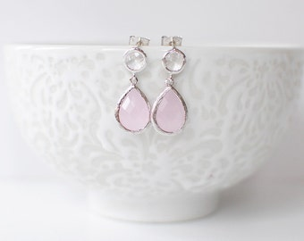 Cleary Studs - Clear/Pink