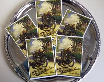 Velocette, Motorcycle, Vintage Illustration, Little Prints, Postcards - Set of 5