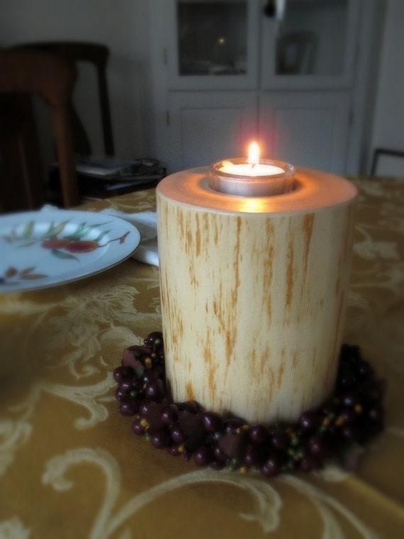 Birch wood tea light candle holder by mountaincattrees on etsy