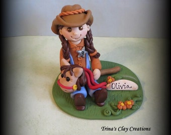 Polymer Clay, Cowgirl with Stick Horse, Birthday Cake Topper