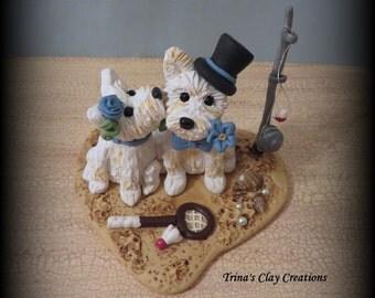 Wedding Cake Topper, Custom Cake Topper, Puppy Cake Topper, Dog, Polymer Clay, Keepsake, Maltese, beach theme, fishing