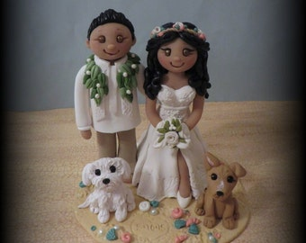 Wedding Cake Topper, Custom Cake Topper, Bride and Groom with Two Pets, Beach Theme, Personalized, Polymer Clay, Keepsake, Hawaiian Lei