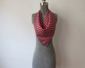 Sweetest 50s, 60s Red, White & Blue Gingham Print Cotton Dorothy Scarf