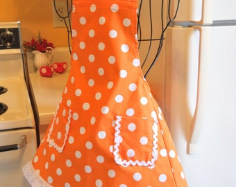 Girl's Retro Vintage Style Full Apron in Orange with Large Polka Dots