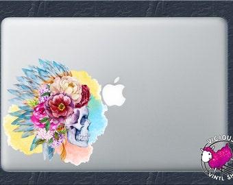 Watercolor Skull Indian Chief Color Vinyl Decal Sticker Car Window MacBook Laptop Computer Skeleton Tattoos Artist Rose Sparkle Glitter