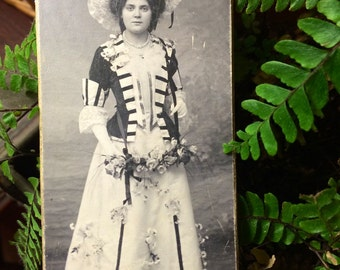 Antique Photo  - Woman  in a Costume - Flower Bedecked - Victorian Photo