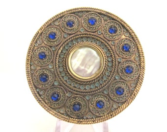 1800s French Gold Compact Mother Of Pearl Blue Stones Antique Powder Rouge Compact RARE
