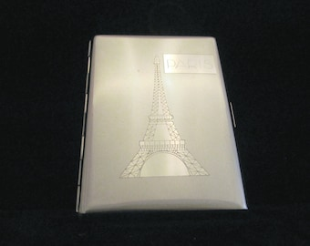 Vintage Silver Paris Cigarette Case Eiffel Tower Chrome Business Card Case Credit Card Wallet EXCELLENT CONDITION