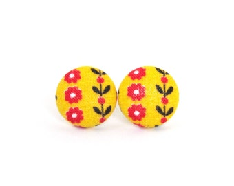 Tiny stud earrings - bright button earrings - funky yellow earrings - fabric covered - brown red flowers happy