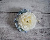 Ivory Ranunculus and Blue Hydrangea Wedding Corsage